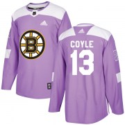 Adidas Charlie Coyle Boston Bruins Men's Authentic Fights Cancer Practice Jersey - Purple